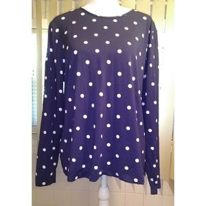 LANDS END--BLUE/WHITE POLKA DOT BLOUSE/TOP SIZE XL